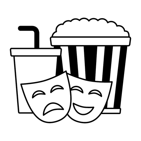 pop corn soda theater masks film cinema design vector illustration