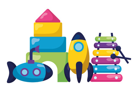 kids toys rocket xylophone submarine puzzles vector illustration Illustration