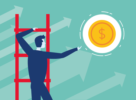 businessman climb ladders money arrow growth business success vector illustration