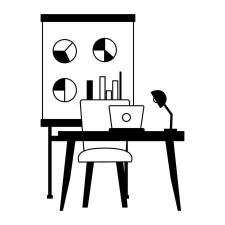 desk laptop chair board office workplace vector illustration