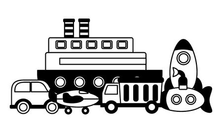 kids toys boat rocket truck car plane submarine vector illustration