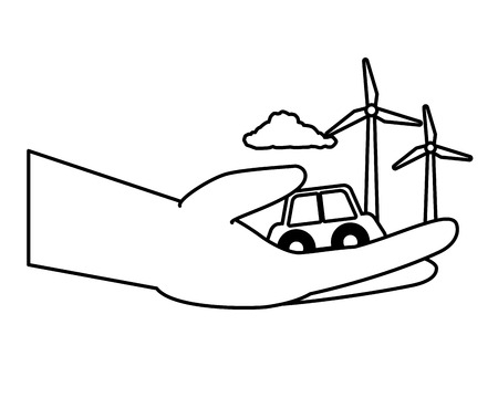 hand with car and wind turbines earth day vector illustration