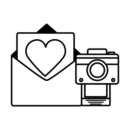 email love photo camera social media digital vector illustration