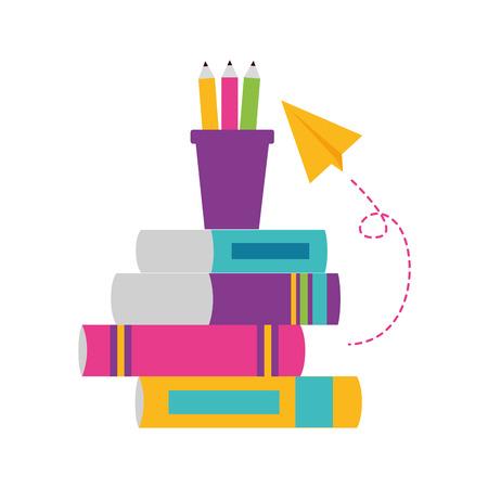 books paper plane school supplies vector illustration design Foto de archivo - 124104043