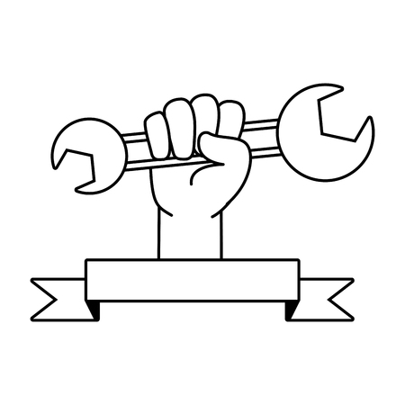 happy labour day hand with wrench vector illustration Imagens - 124104109