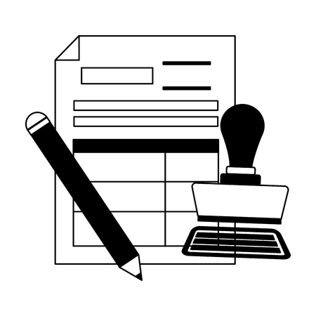 tax payment document invoice paid stamp pen vector illustration