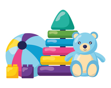 teddy pyramid rubber ball block kids toys vector illustration Stock Illustratie