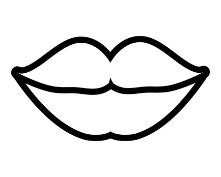 female lips linear on white background vector illustration