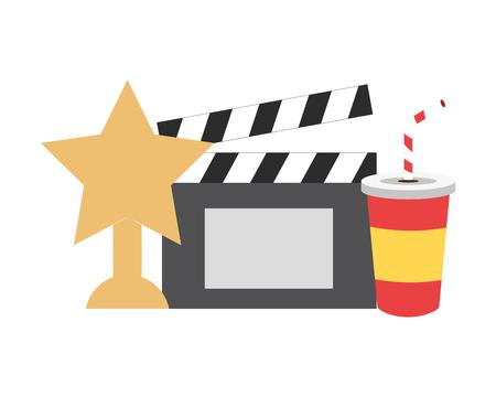 cinema award clapboard soda fast food vector illustration design Banque d'images - 124107482