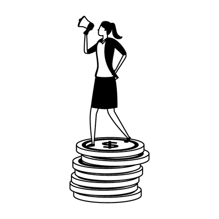 businesswoman megaphone coins money profit business success vector illustration Ilustração