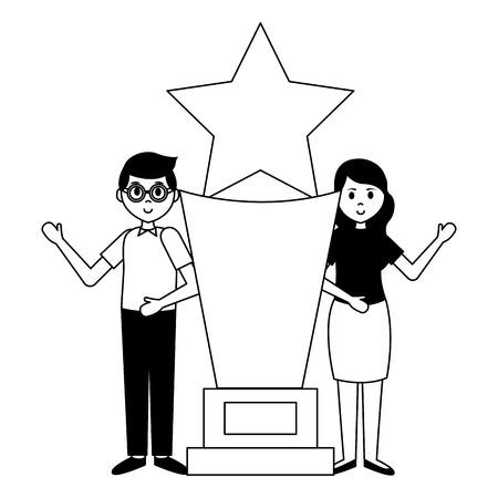 Hombre y mujer con premio trofeo película película ilustración vectorial Ilustración de vector
