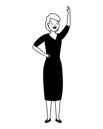 woman standing character on white background vector illustration Stock Vector - 124113647
