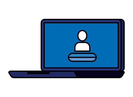 laptop computer with user acount vector illustration design