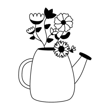 watering can with flowers gardening vector illustration Banco de Imagens - 124141817
