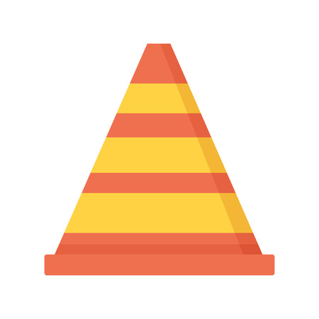 traffic cone construct icon on white background vector illustration Çizim