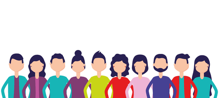group team people figure on white background vector illustration Vettoriali