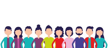 Les gens de l'équipe du groupe figurent sur l'illustration vectorielle fond blanc Vecteurs