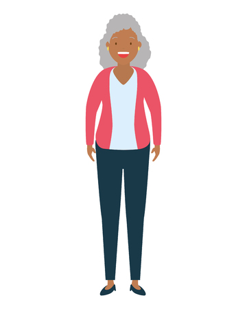 woman standing character on white background vector illustration