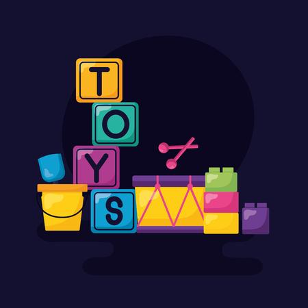 kids toys cubes bucket drum blocks vector illustration Standard-Bild - 124193581