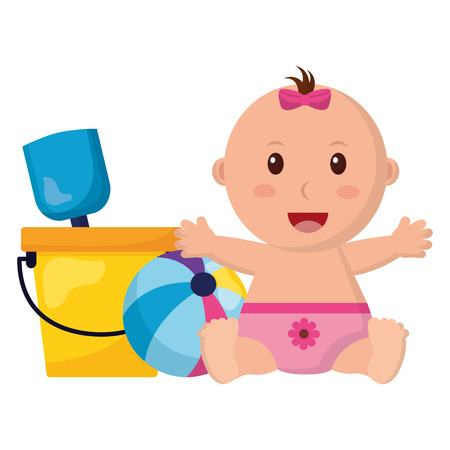 baby girl with bucket shovel and ball toys vector illustration