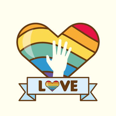heart rainbow colors lgbt pride love vector illustration Çizim