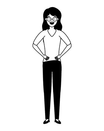 Femme debout caractère sur fond blanc vector illustration