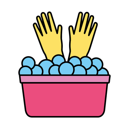 bucket gloves spring cleaning tools vector illustration