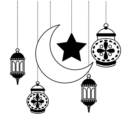 hanging lanterns moon star decoration on white background vector illustration 일러스트