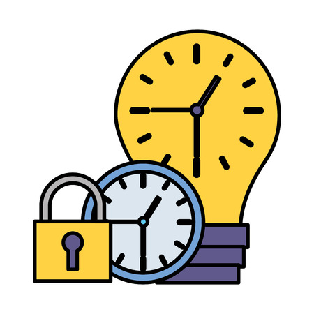 work time clock creativity bulb security vector illustration