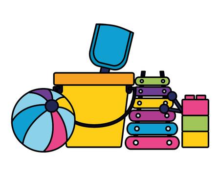 kids toys bucket shovel ball xylophone blocks background vector illustration Stock Vector - 124146979