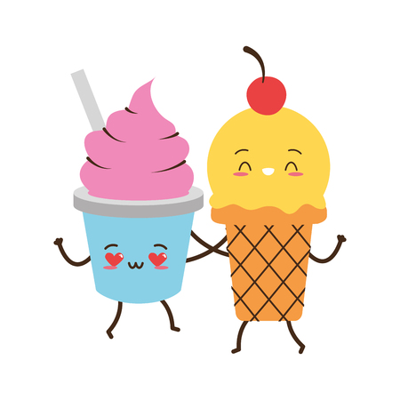 kawaii ice cream friendly fast food cartoon vector illustration Banque d'images - 124143171