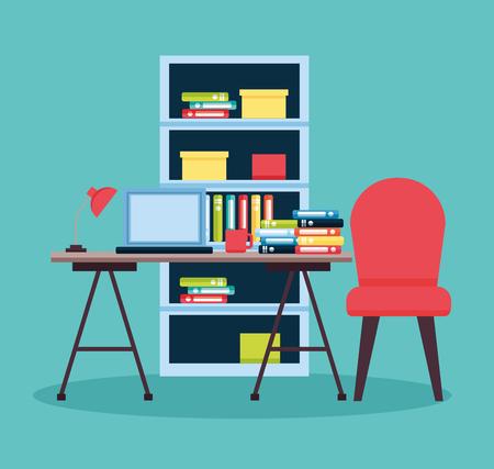 office interior workplace furniture background vector illustration design