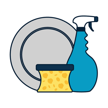 dish spray sponge spring cleaning tools vector illustration Ilustração