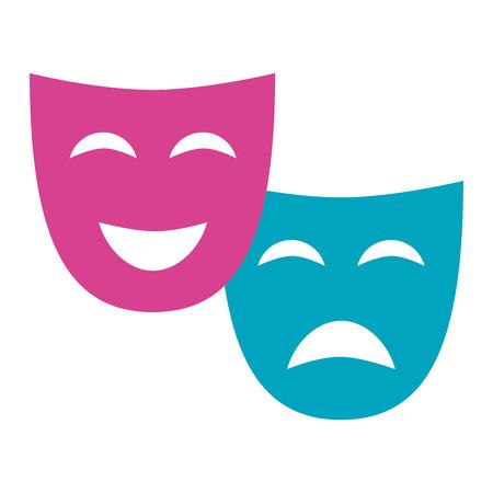 dramma della commedia della maschera del teatro sull'illustrazione bianca di vettore del fondo