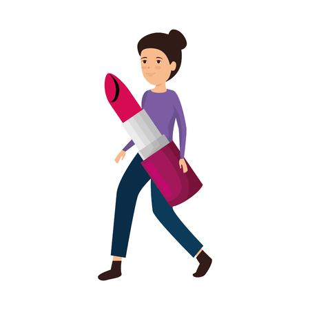 woman lifting lipstick makeup vector illustration design