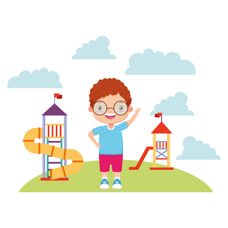 boy waving hand in the playground - kids zone vector illustration Illustration