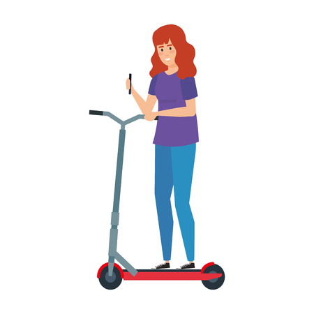 young woman in folding scooter vector illustration design