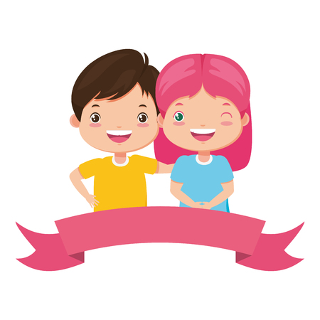 happy boy and girl ribbon kids vector illustration Standard-Bild - 124196488