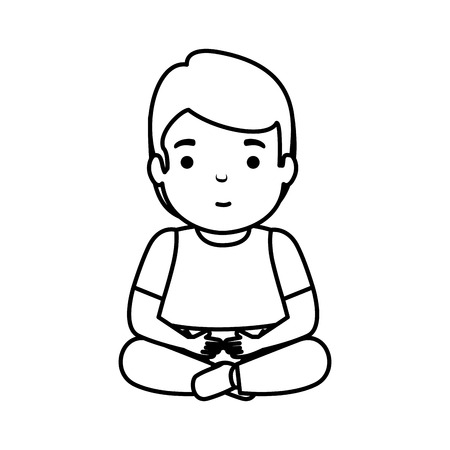young man seated avatar character vector illustration design Ilustração