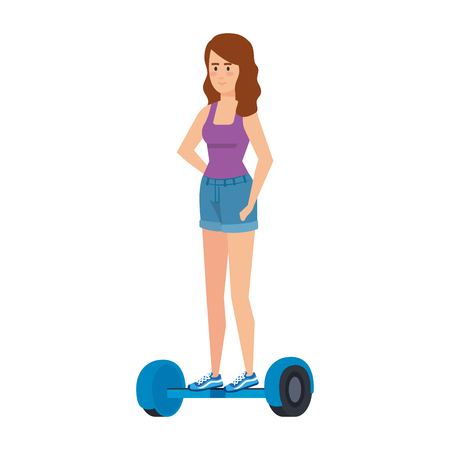 young woman in hoverboard electric vector illustration design Illustration