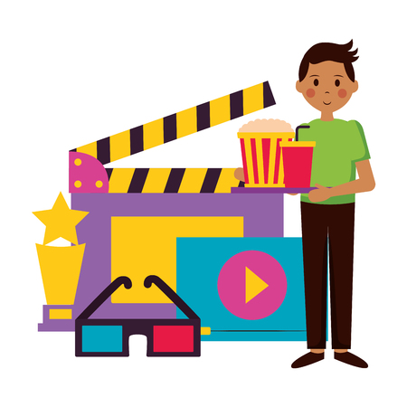 food snack and clapboard 3d glasses and award film movie vector illustration Banque d'images - 124177323
