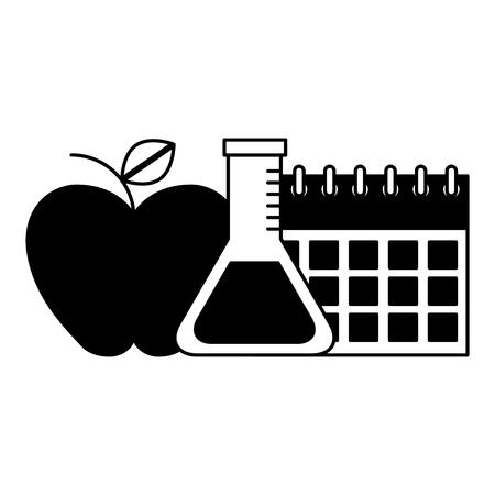 school calendar apple flask chemistry supplies vector illustration