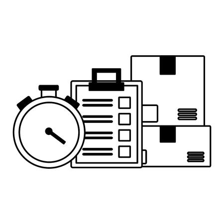 cardboard box clock clipboard fast delivery business vector illustration Ilustração