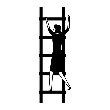 businesswoman ladders creativity business success vector illustration
