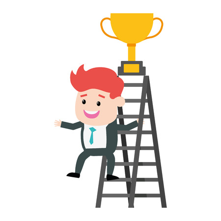 businessman climb ladder trophy on top vector illustration