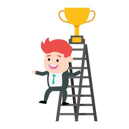 trofeo de la escalera del hombre de negocios subir en la ilustración superior del vector