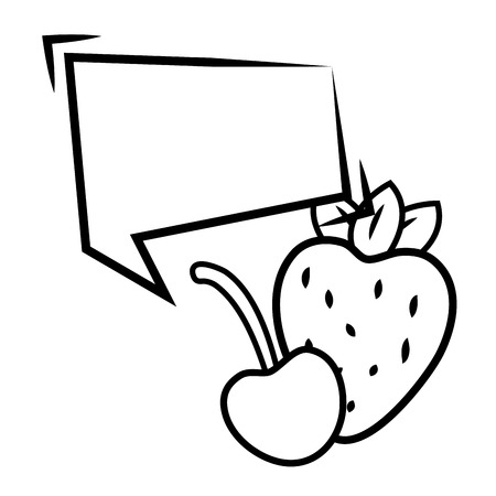 strawberry and cherry speech bubble pop art elements vector illustration  イラスト・ベクター素材