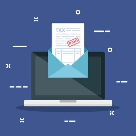 laptop with invoice report document inside card vector illustration Standard-Bild - 124231672