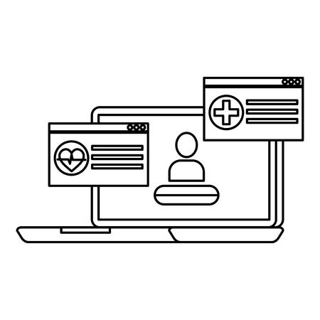 laptop with telemedicine service vector illustration design