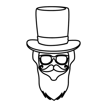 male face with tophat hipster style vector illustration design Foto de archivo - 124231716